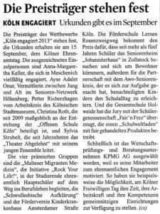 aus Kölner Stadt-Anzeiger vom 1.8.2013